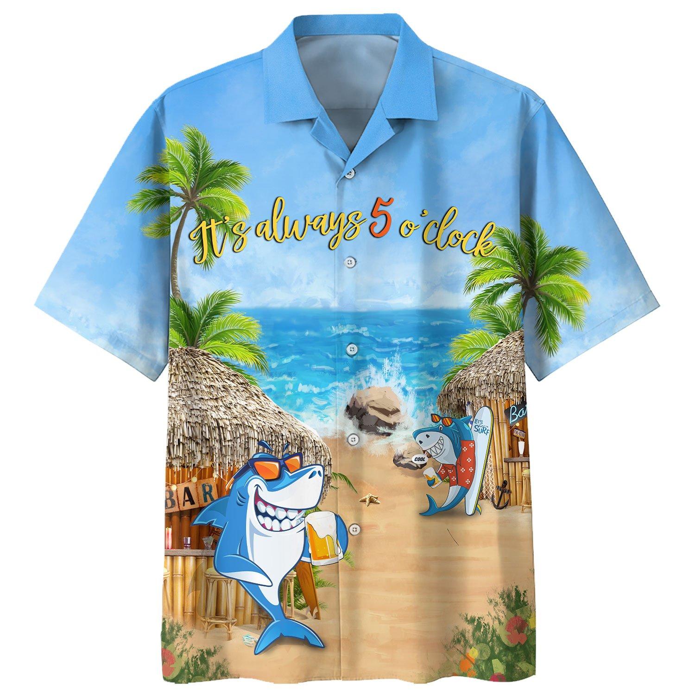 Shark Beer Bar On The Beach Its Always 5 o clock Hawaiian Shirt