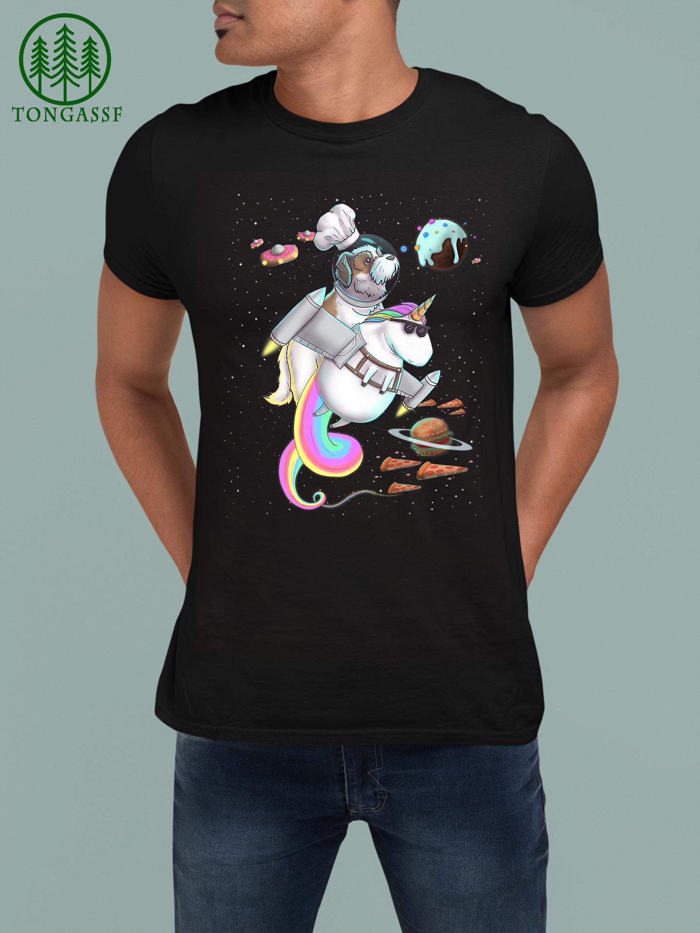 Shih Tzu Dog Riding Unicorn Food Pizza Space Party Planet Premium T Shirt