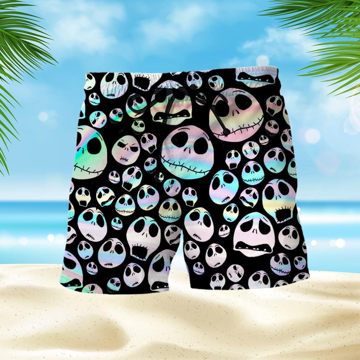 Hologram Jack Skellington Face Men Hawaiian Shirt Beach Shorts Set