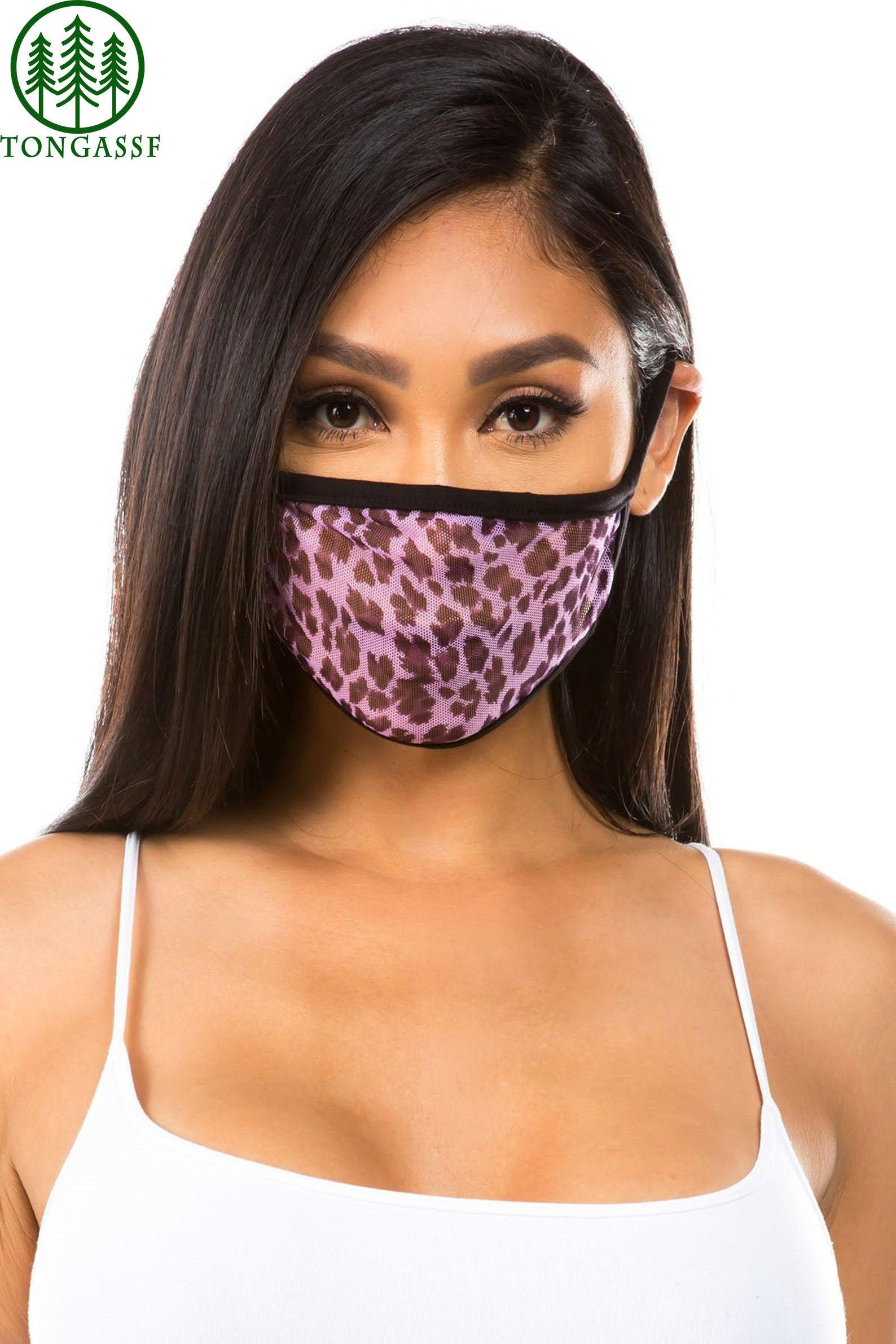 Single Layer Mesh Mini Leopard Print Face Mask
