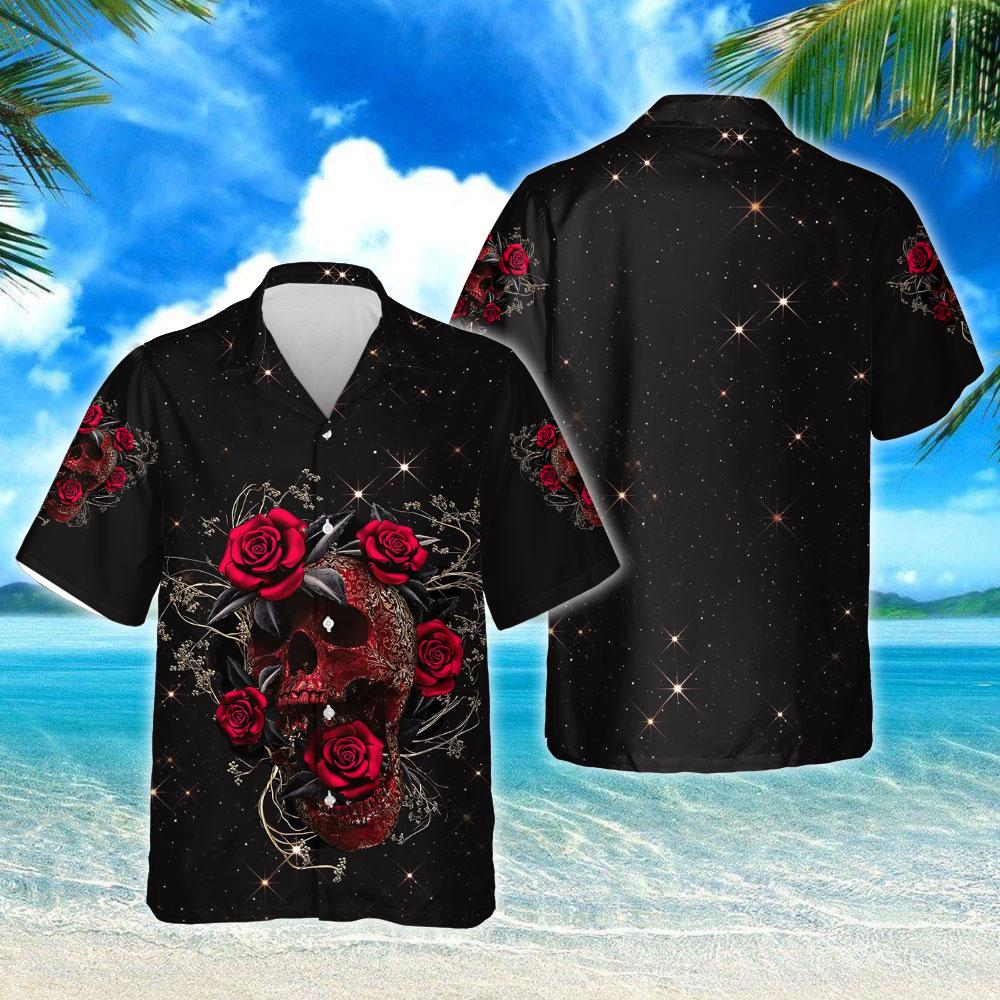 Skull Roses Hawaiian Shirt