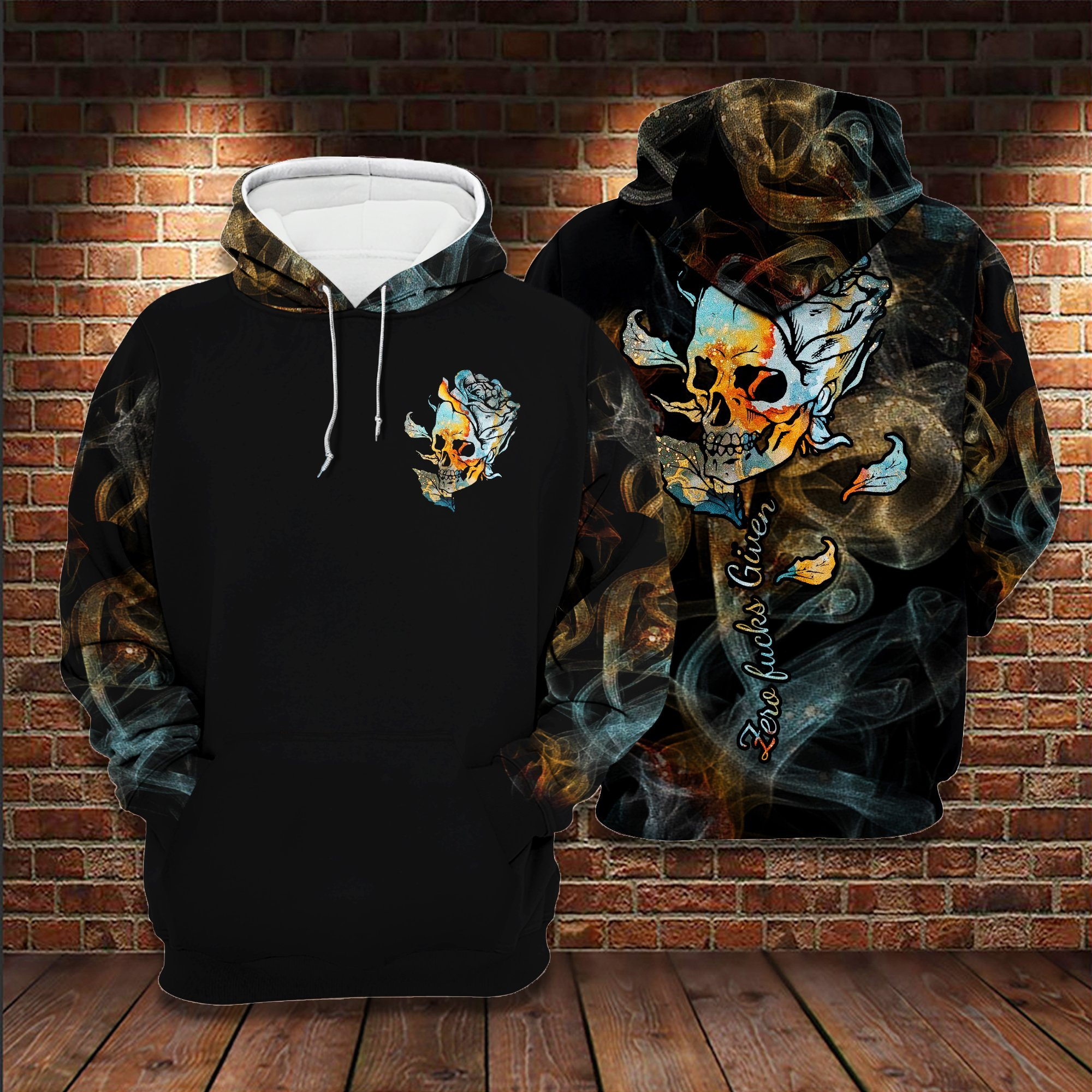 Skull Rose Zero Fucks Given 3D Hoodie