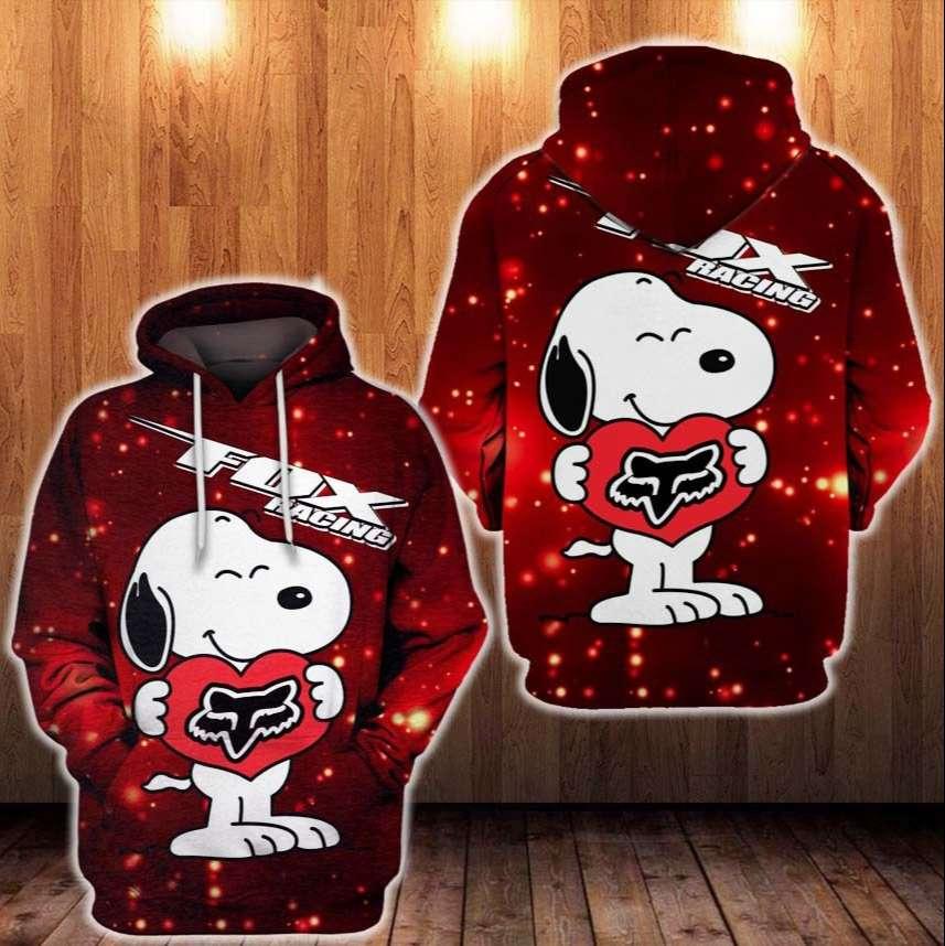 Snoopy Holding Fox racing Logo Heart 3D Hoodie