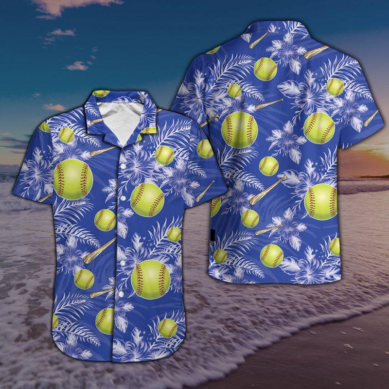 Softball Baseball Royal Blue Hawaiian Shirt