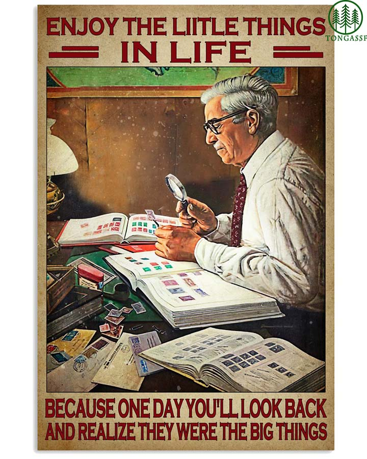 Stamp collector enjoy the little things in life poster