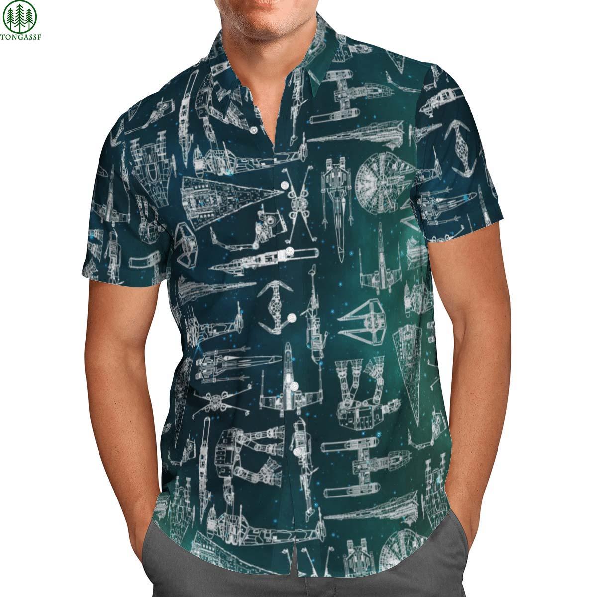 Star Wars Starships Green hawaiian shirt