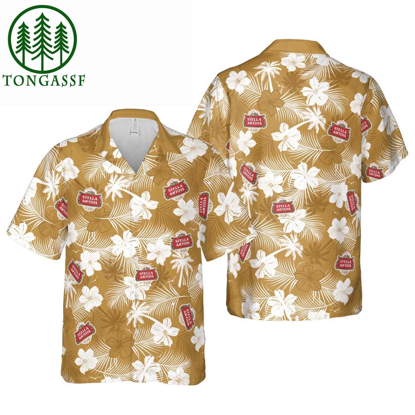 Stella Artois Beer Floral Hawaiian Shirt