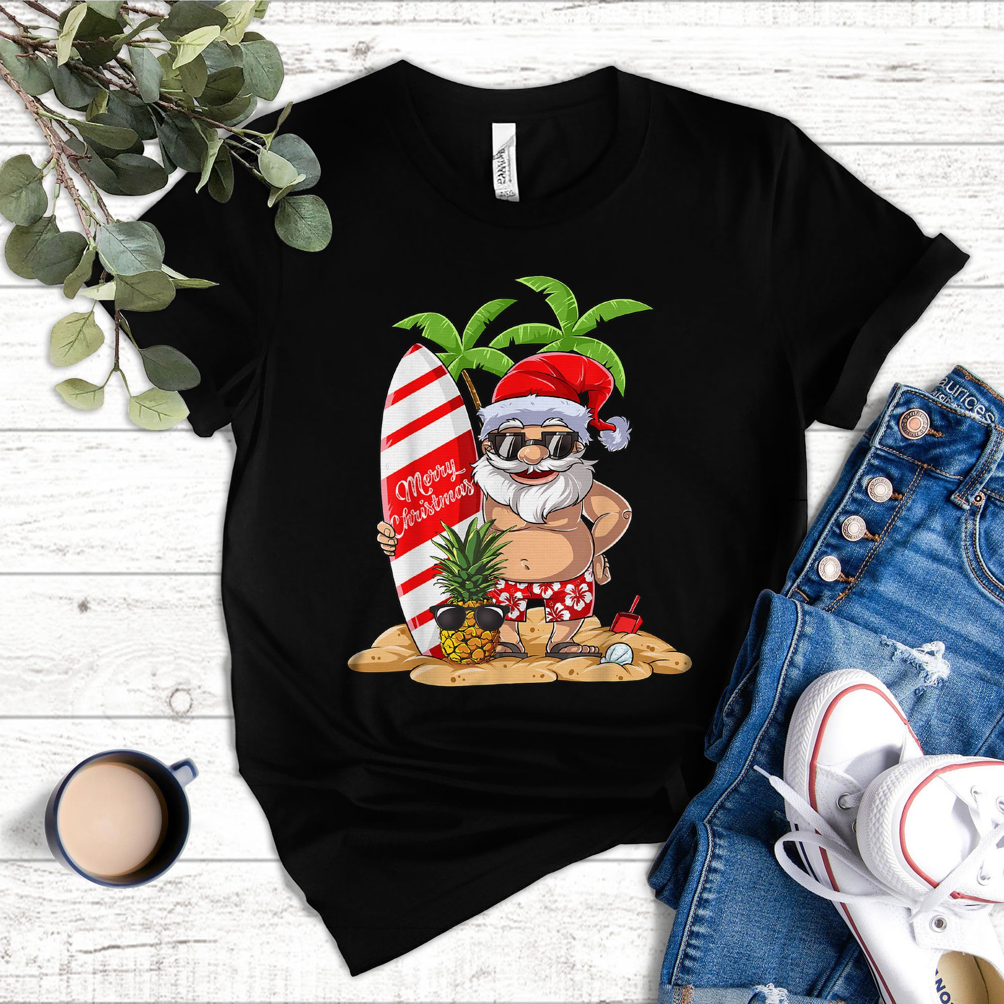 Summer Santa Christmas In July Holiday Vacation Shirt