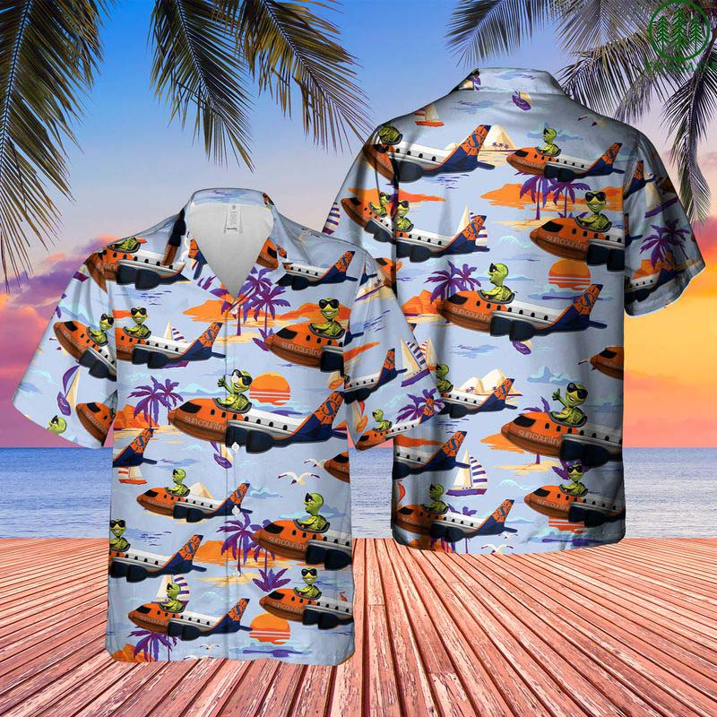 Sun Country Airlines Turtle On Boeing Hawaiian Shirt