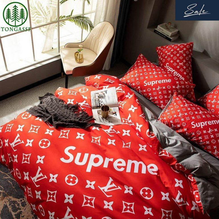 Supreme Louis Vuitton red bedding set