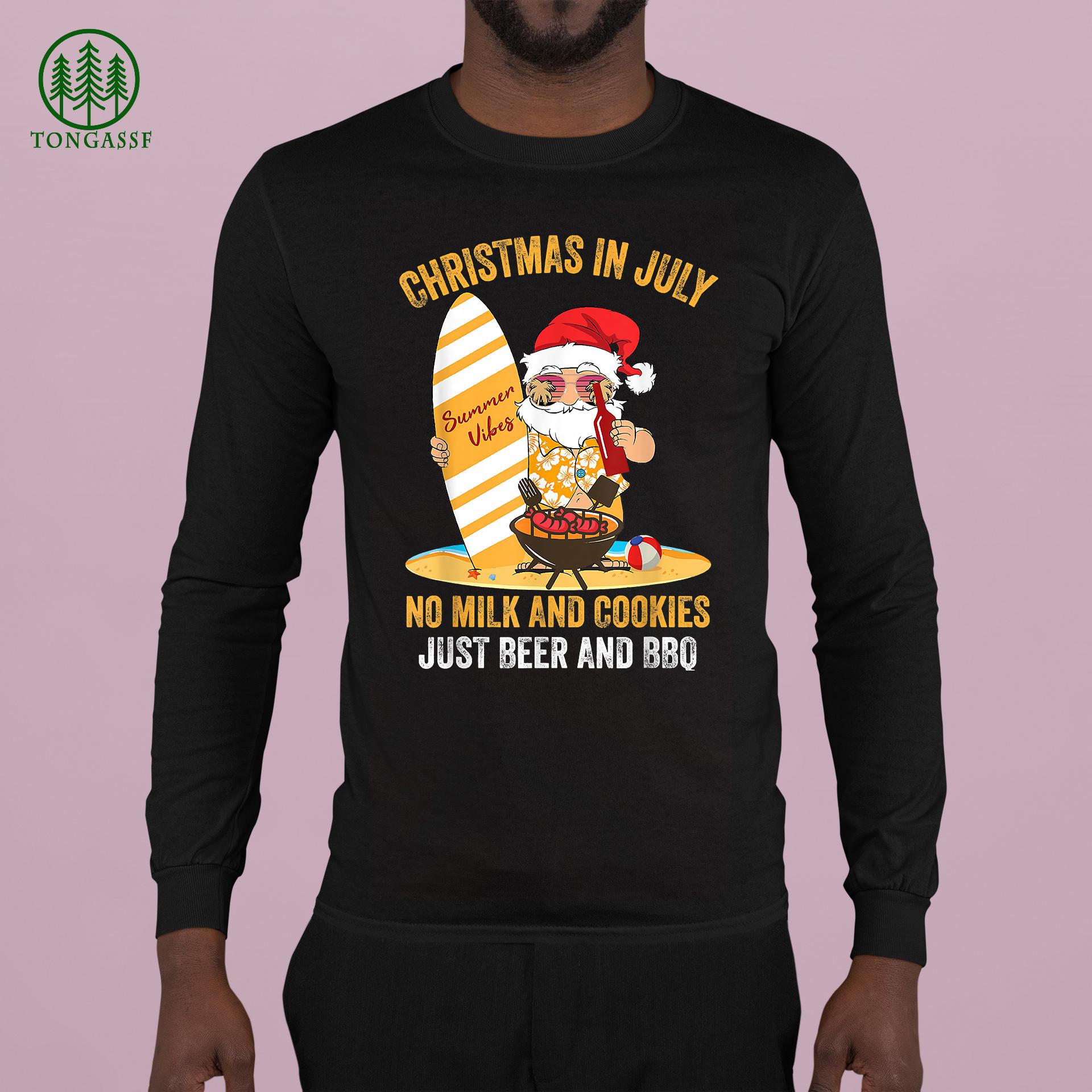 Surfer Santa Beer And BBQ xmas summer Christmas In July Longsleeve Shirt