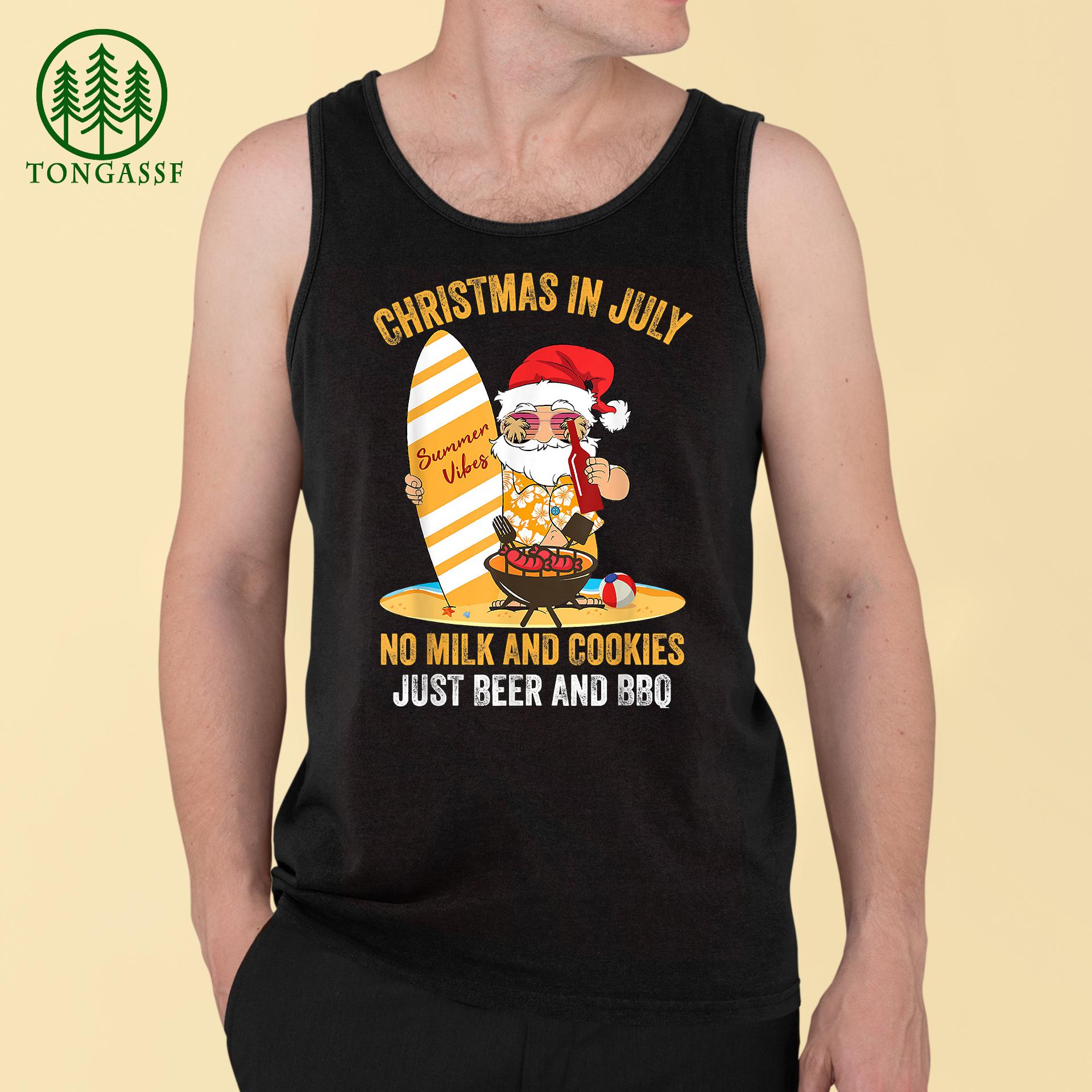 Surfer Santa Beer And BBQ xmas summer Christmas In July Tank Top