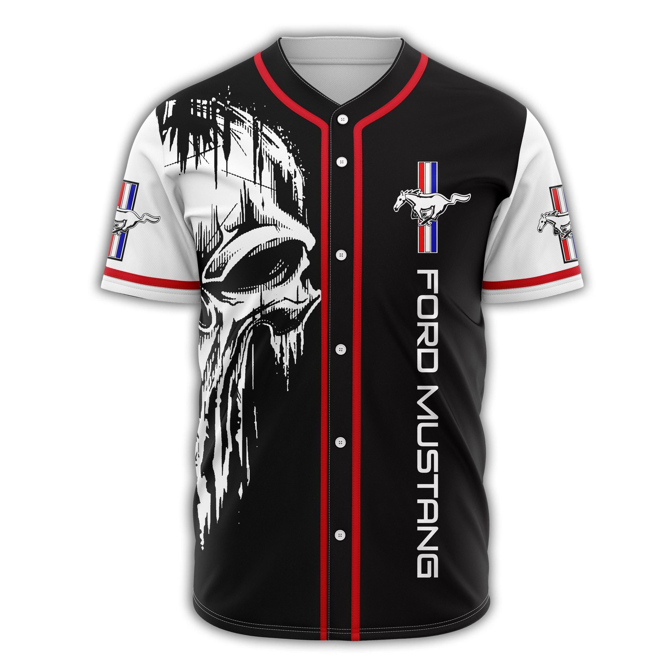 FORD MUSTANG Scary Skull Baseball Jersey