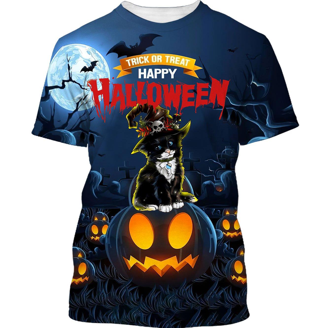 Black Cat Trick or Treat Halloween T shirt