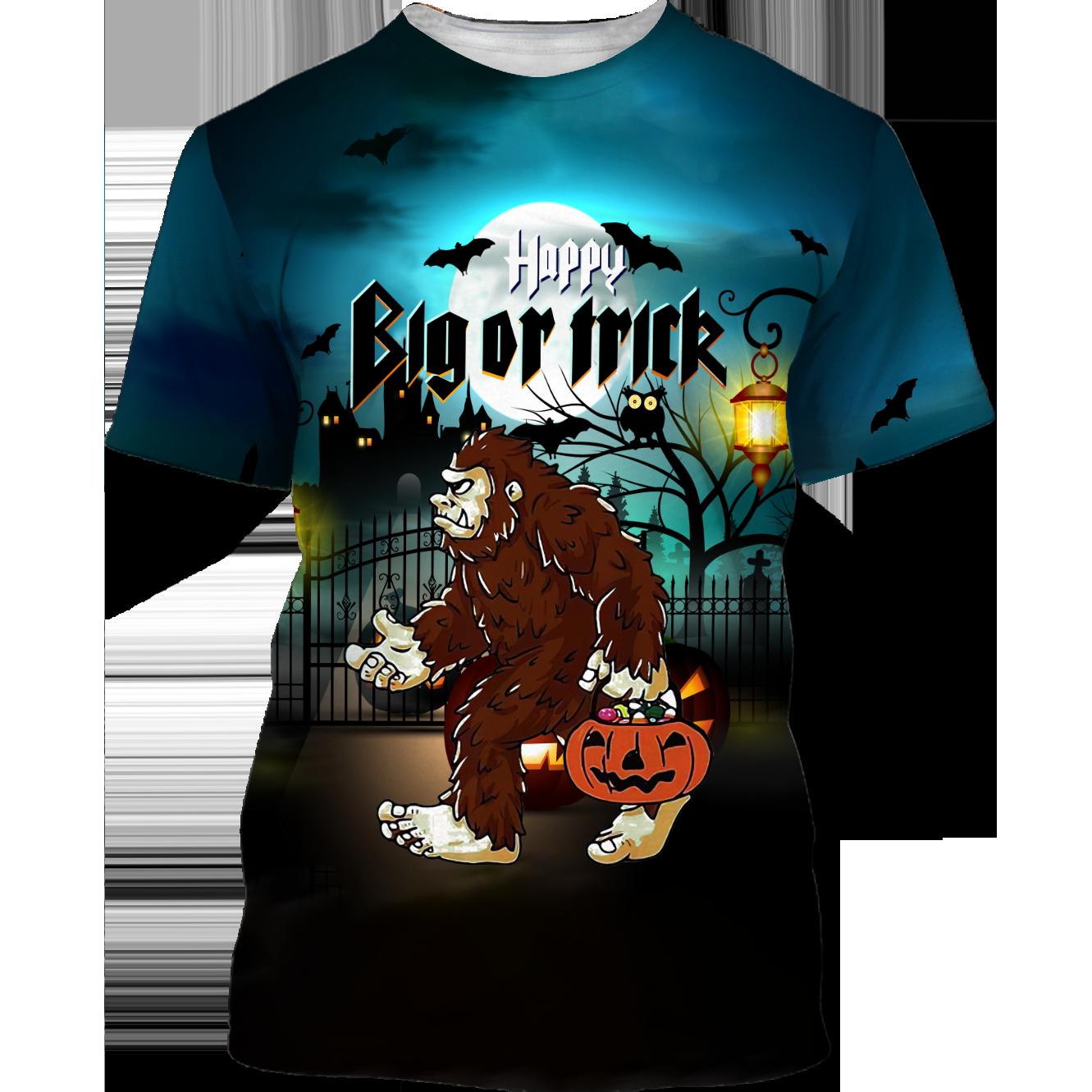 Happy Halloween BigFoot Big or Trick T shirt 3D