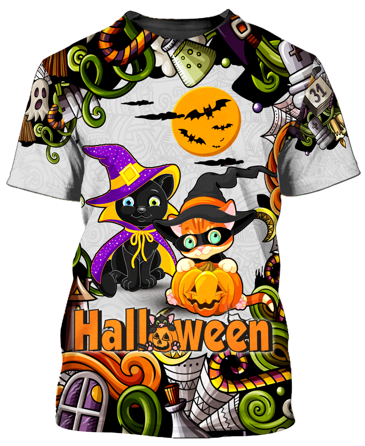Cute Witch Cats Halloween 3D T Shirt and Hoodie