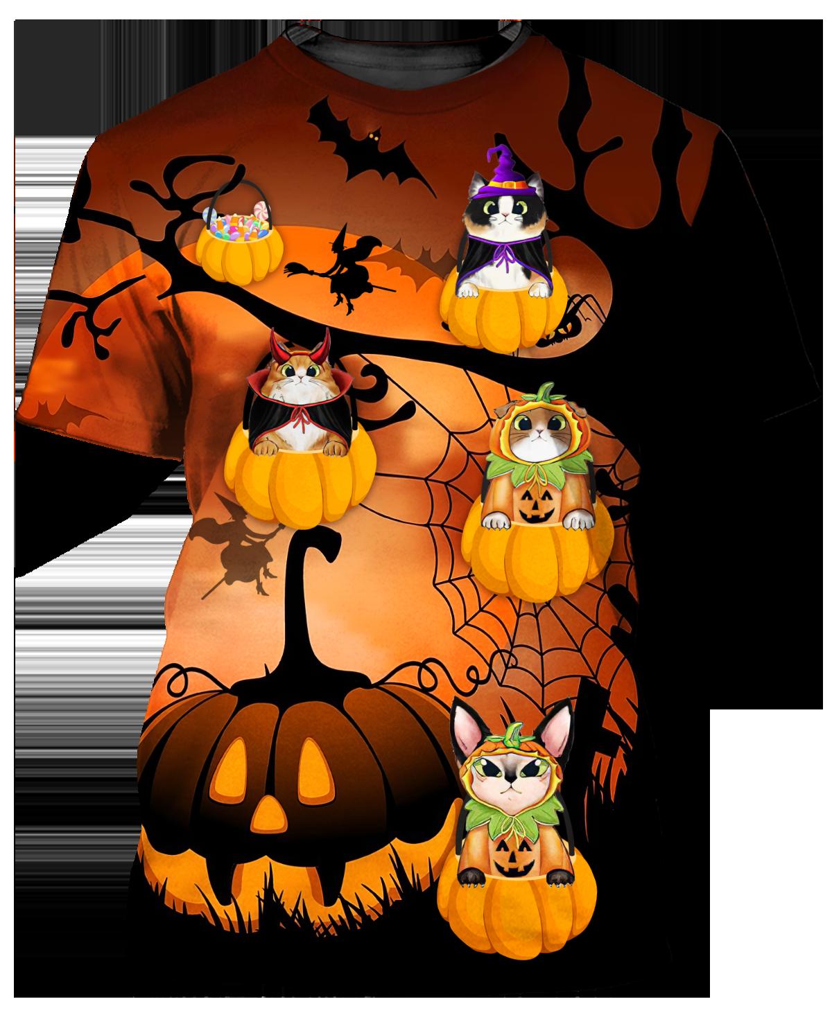Happy Halloween Cat In Pumpkin Tree 3D T shirt