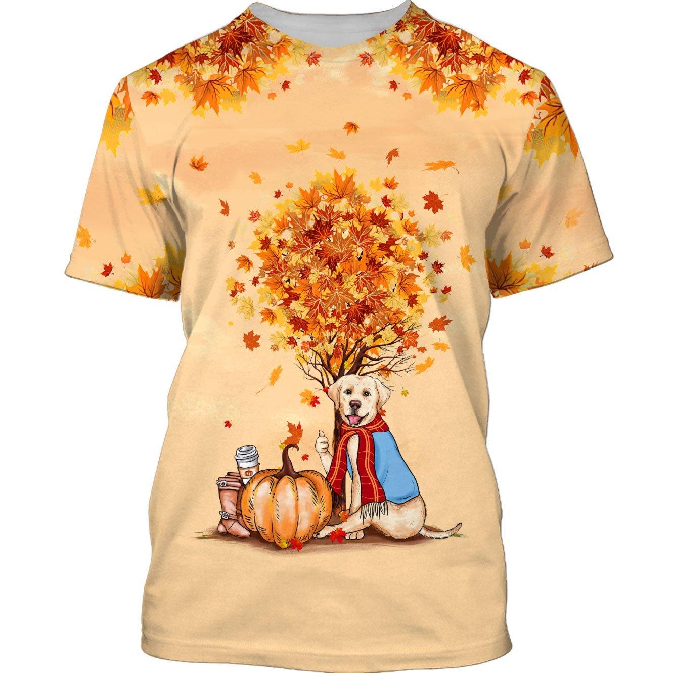 Halloween Labrador Retriever mapple tree 3D T-shirt