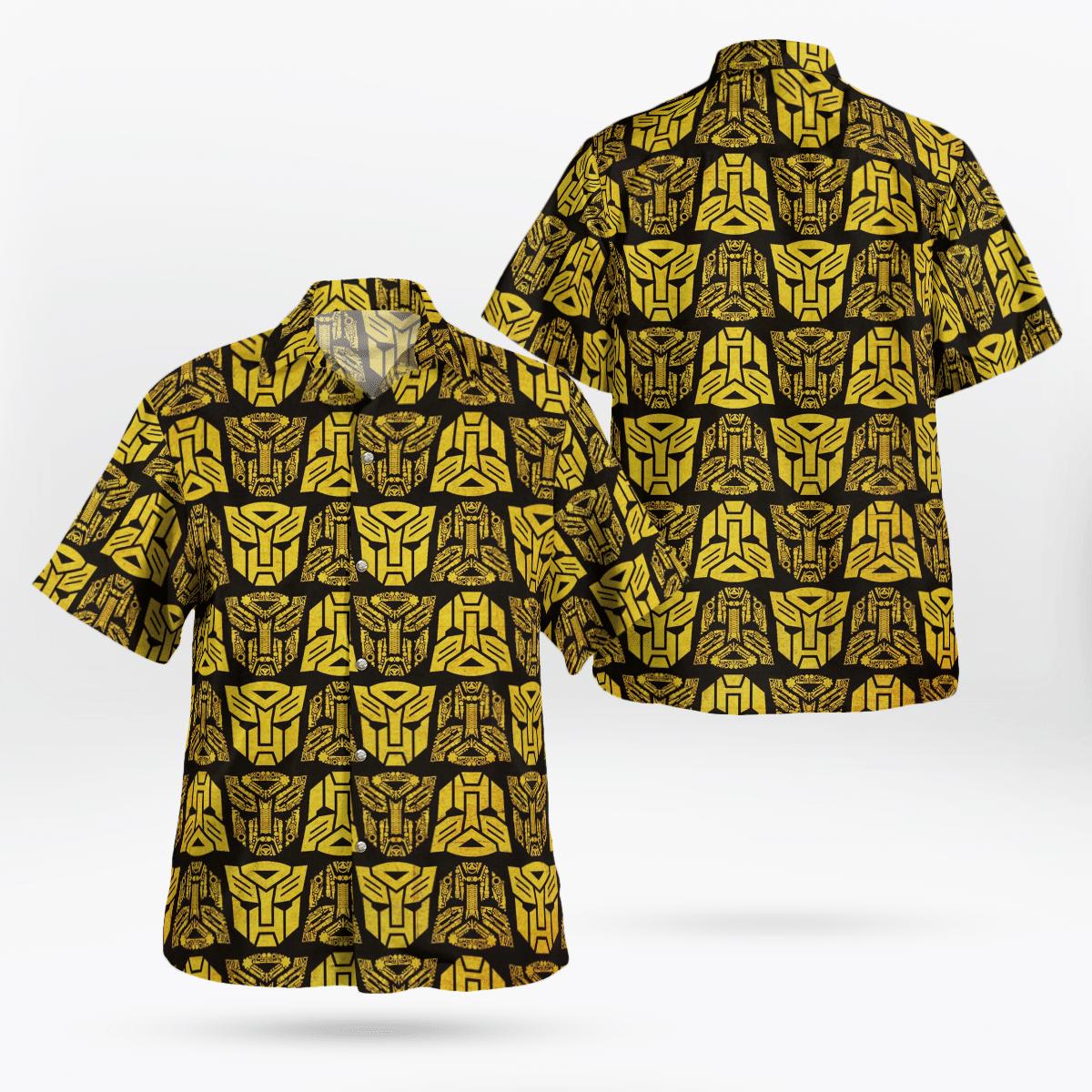 Transformers Optimus Prime Golden Hawaiian Shirt