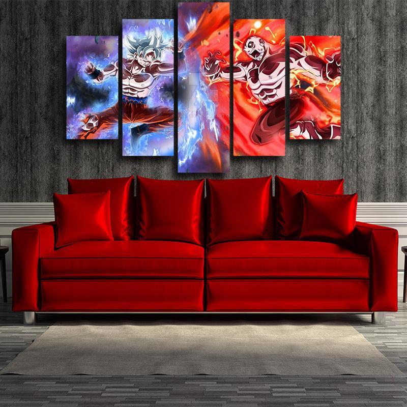 Goku Jiren Epic Battle Dragon Ball 5 panel Wall Art Canvas Prints
