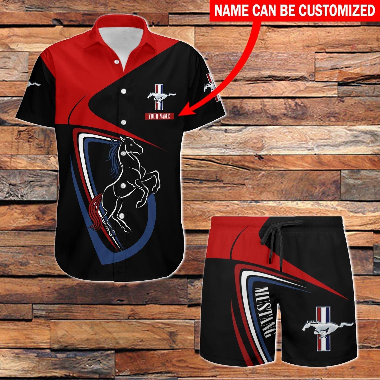 Ford Mustang black and red Hawaiian Shirt and Shorts