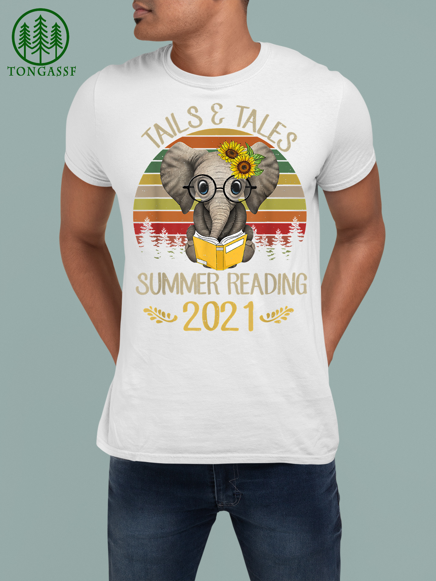 Tails And Tales Summer Reading 2021 Elephant Book Lovers Shirt