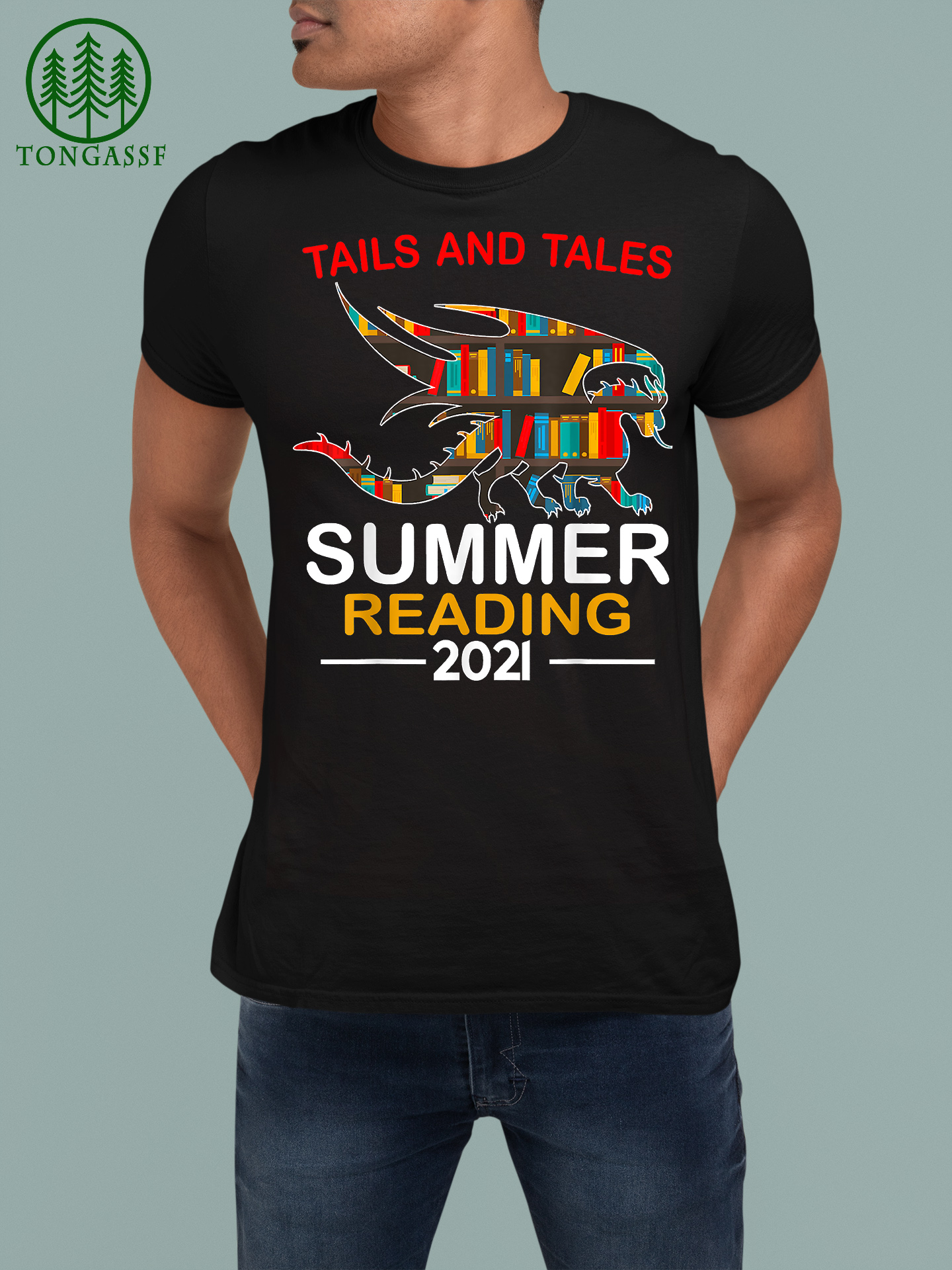 Tails and Tales Summer Reading 2021 Book Reading Teen Dragon T Shirt