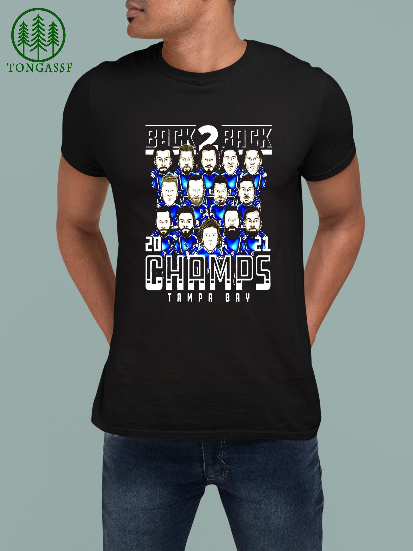Tampa bay hockey back 2 back 2021 champs t shirt