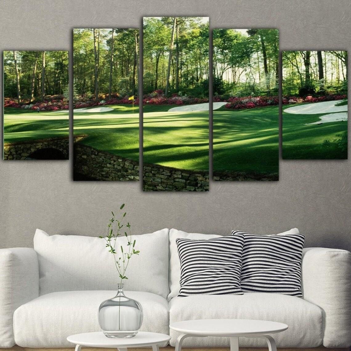 Augusta Masters Golf Green 5 Piece Five Panel Canvas