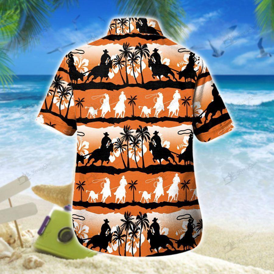 Team Roping Sunset Hawaiian Shirt 2