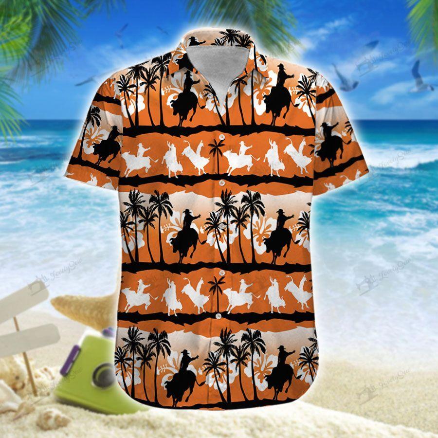 Team Roping Sunset Hawaiian Shirt
