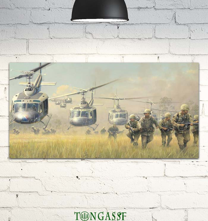 The Attack of Uh1 Huey Helicopter in Vietnam Canvas