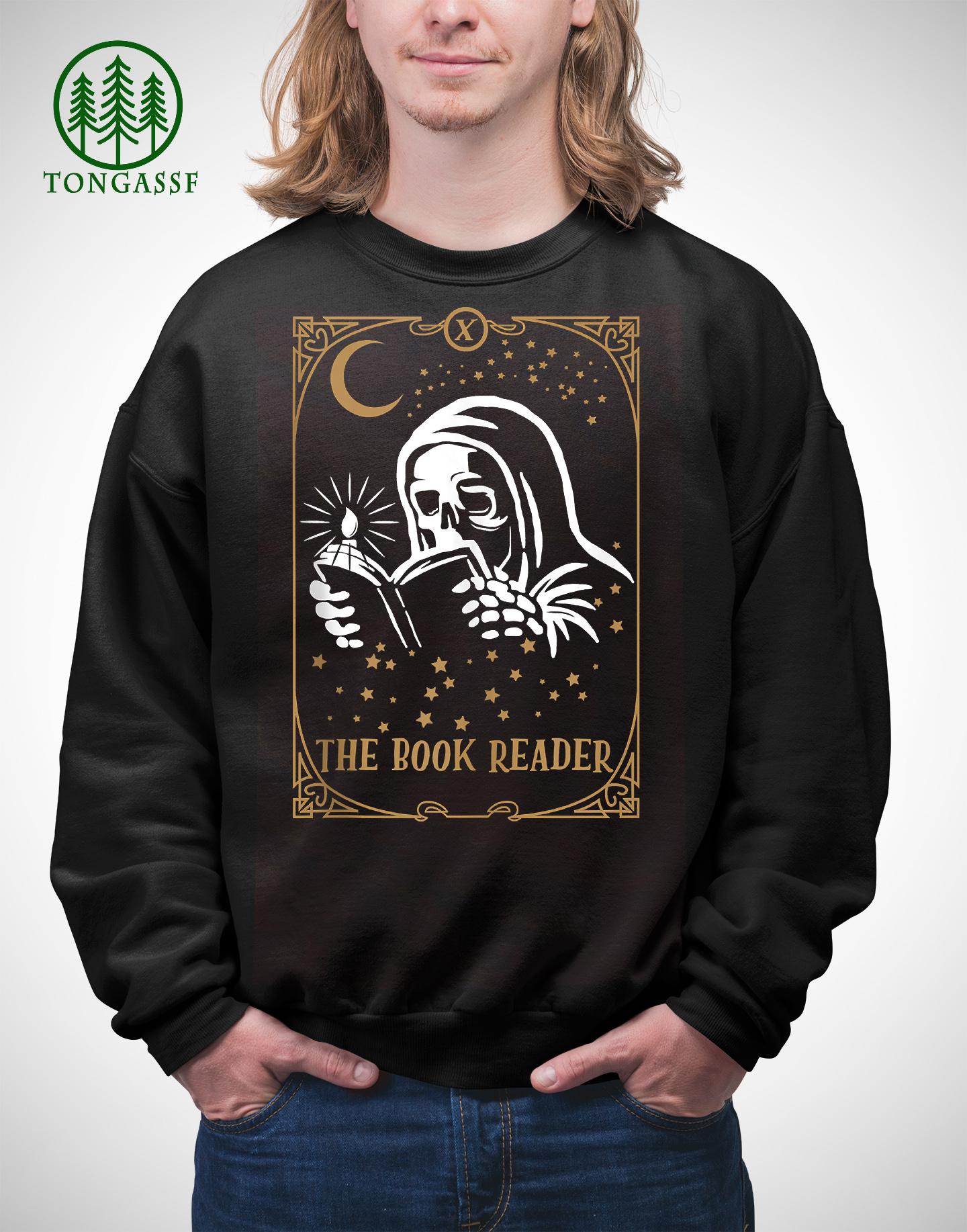 The Book Reader Tarot Card Hooded Skeleton Reading Shirt
