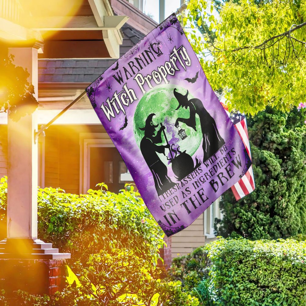 The Witch Property Warning Flag with Green Moon