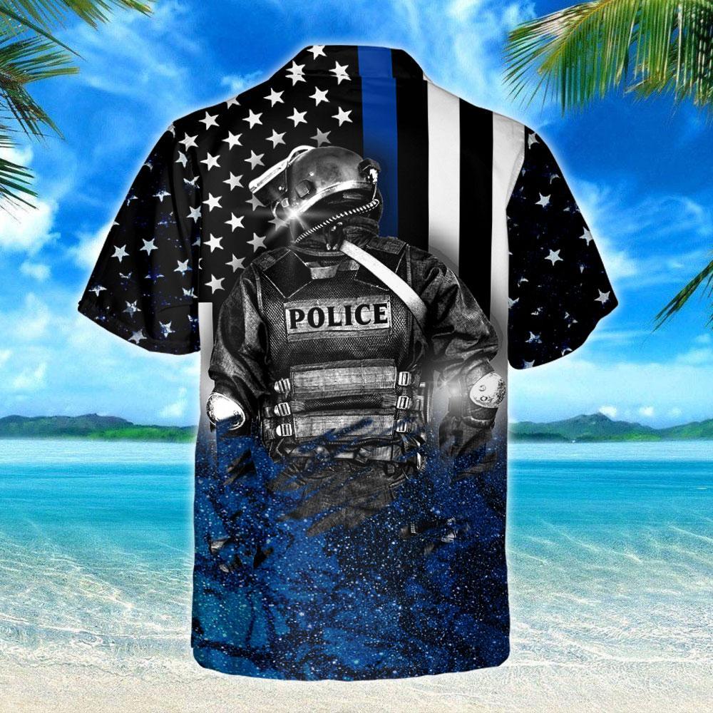 Thin Blue Line I Am The Storm Hawaiian Shirt 3