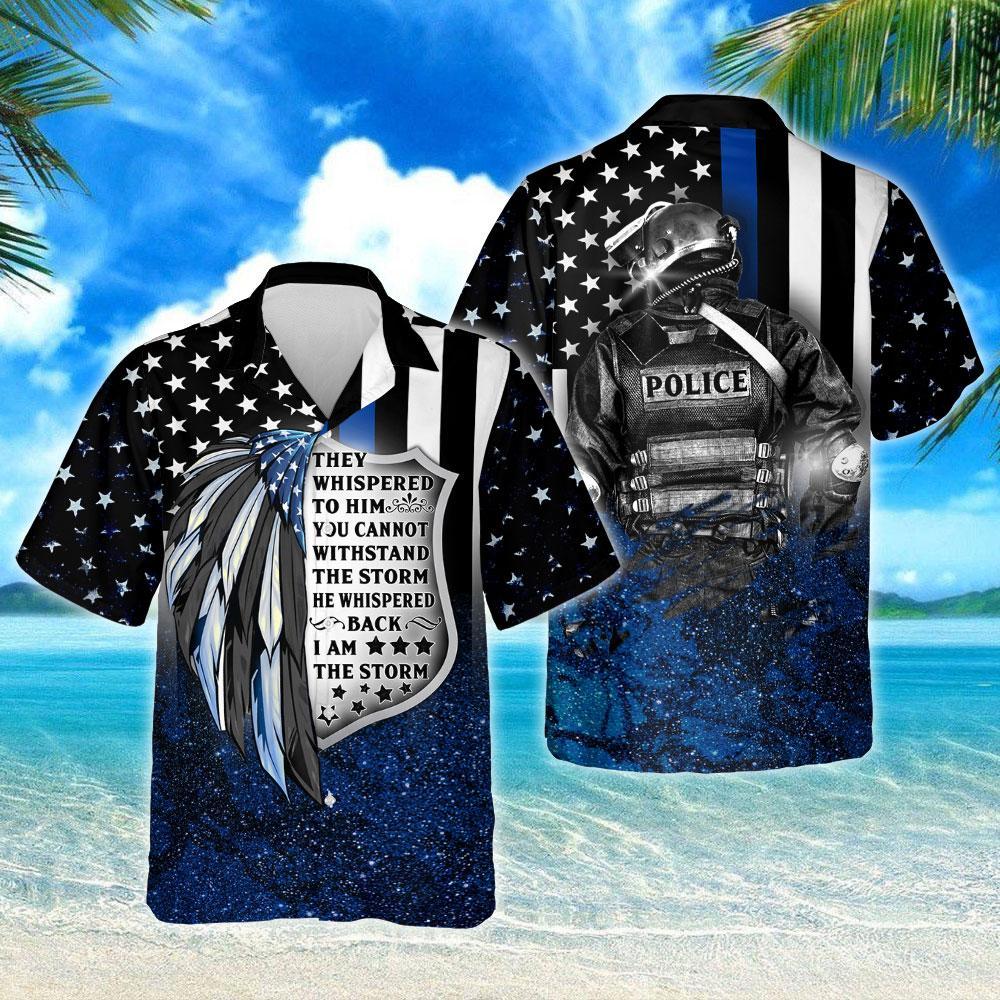 Thin Blue Line I Am The Storm Hawaiian Shirt
