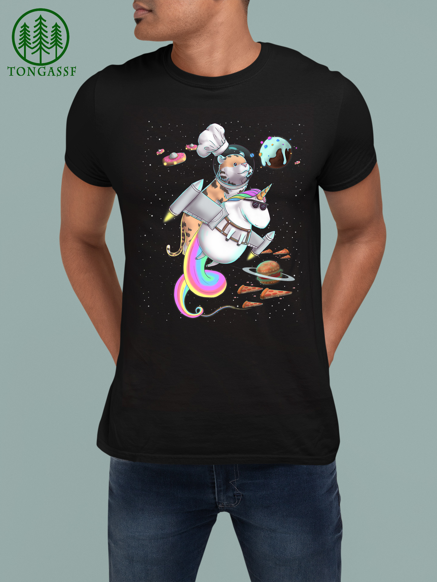 Tiger Cat Riding Unicorn Food Pizza Space Party Planet Cute Premium T Shirt