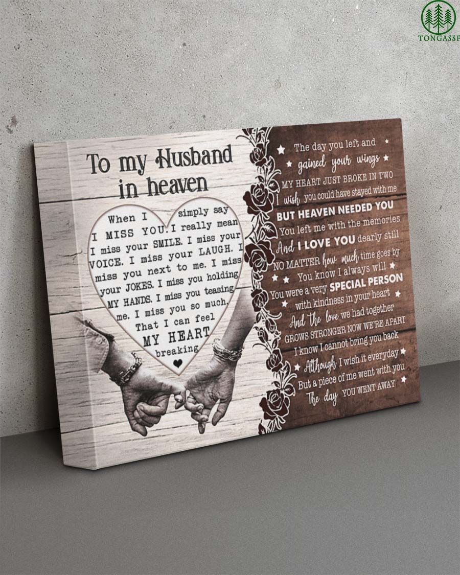 To My Husband In Heaven I Miss You So Much Wrapped Canvas Prints