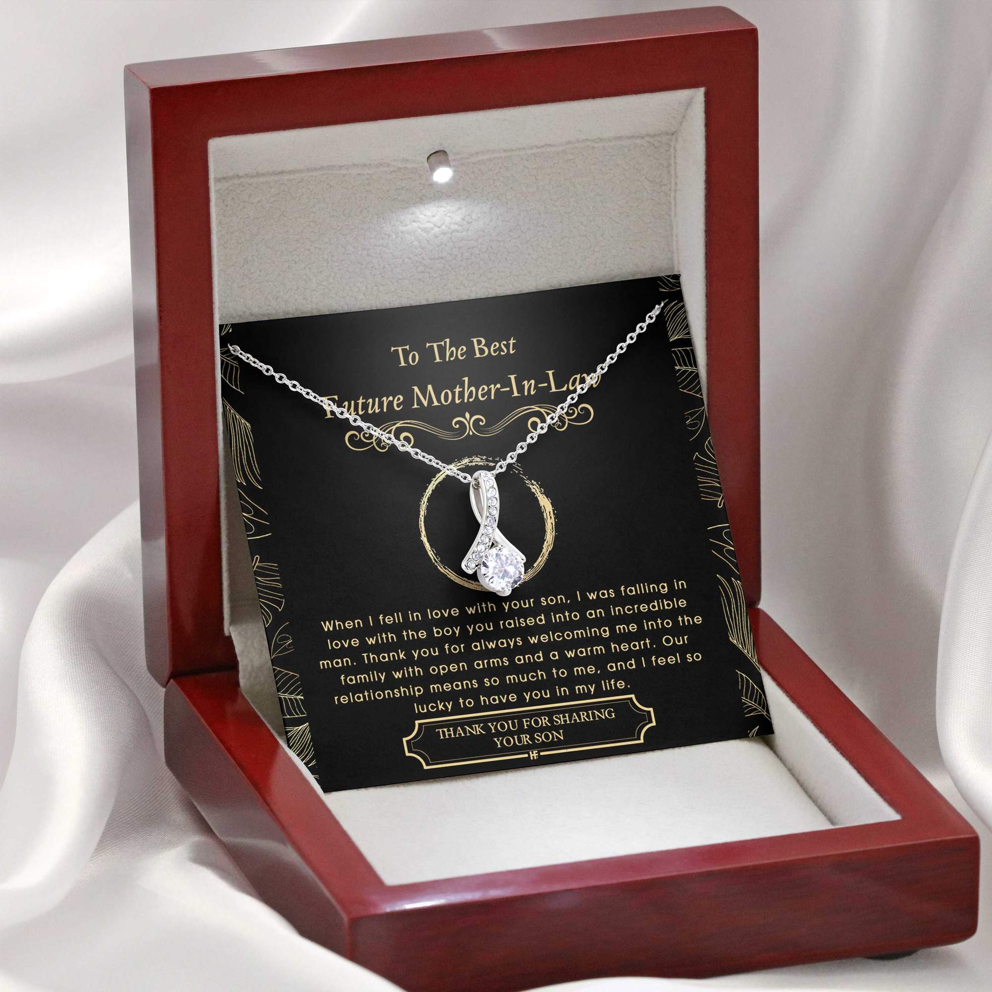 To The Best Future Mother In Law Thank You For Sharing Your Son Alluring Necklace