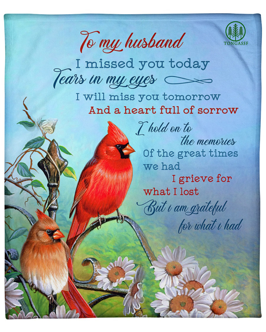 To my husband cardinal flower blue sky fleece blanket