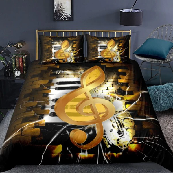 Treble Clefs Guitar Music Bedding Set