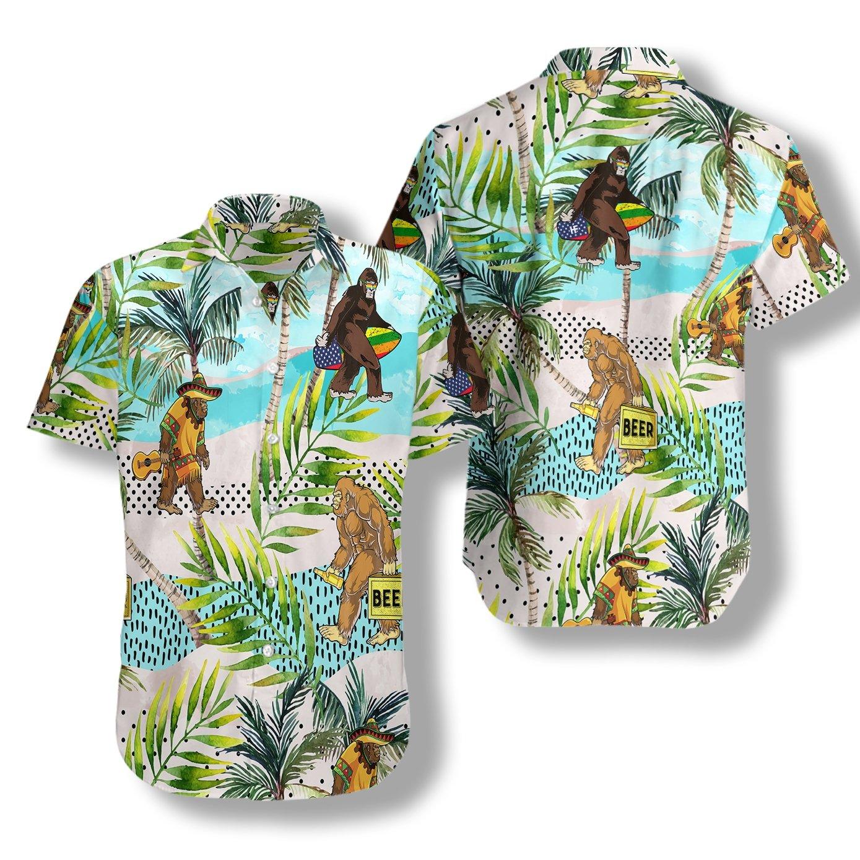 Tropical Bigfoot With Beer Summer Hawaiian Shirt
