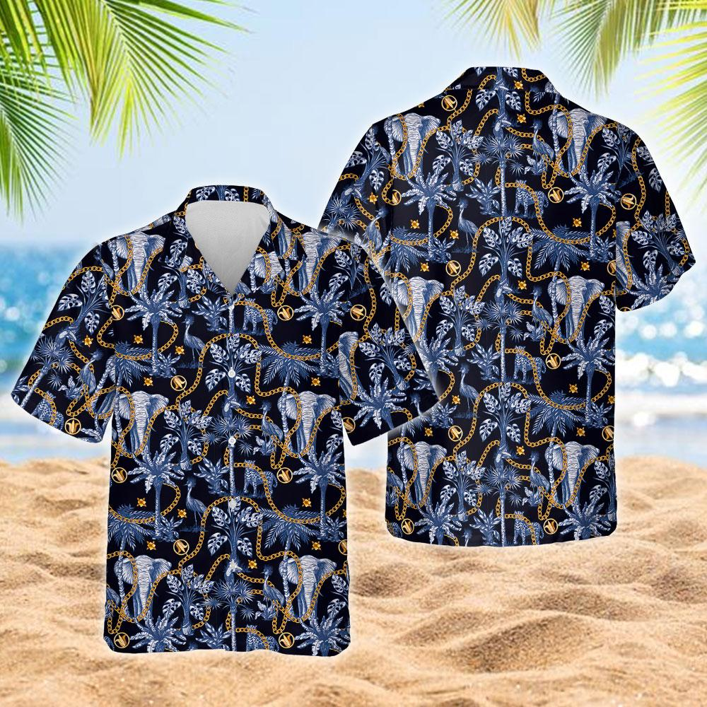 Tropical Trees And Jungle Animals Hawaiian Shirt