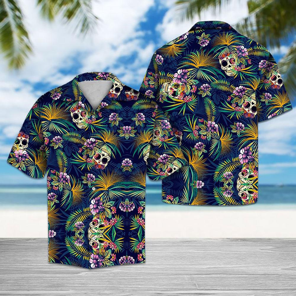 Tropical Blue Skull Hawaiian Shirt