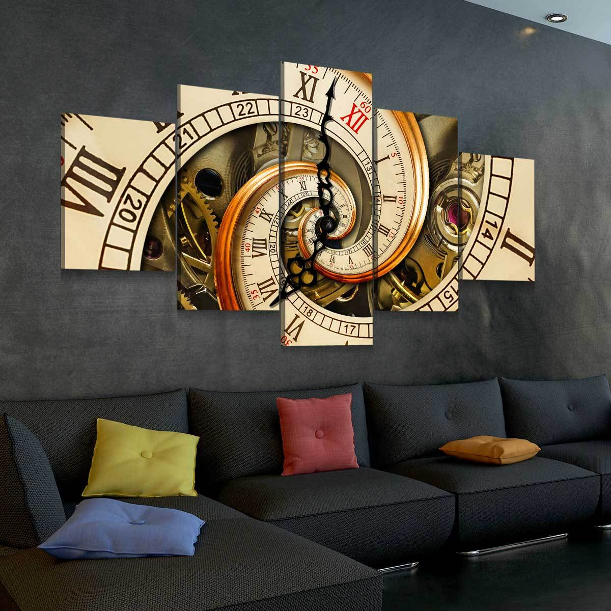 Twisted Time 5 panel canvas wall art