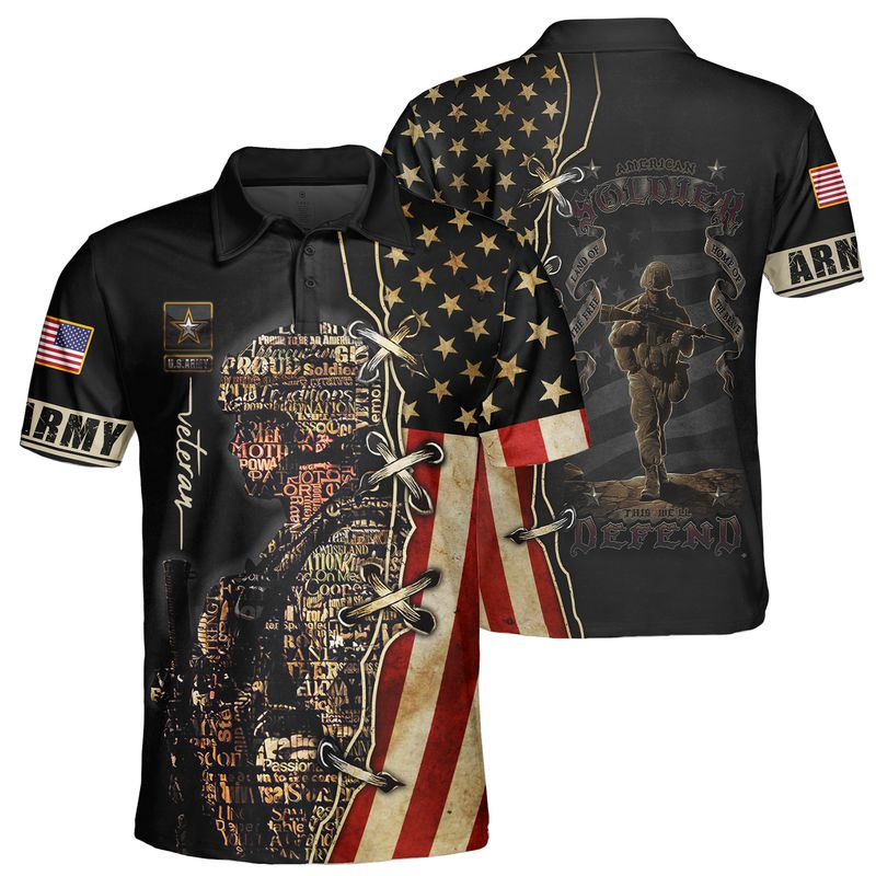 US Army Veteran Soldier Text Pattern Black 3D shirt