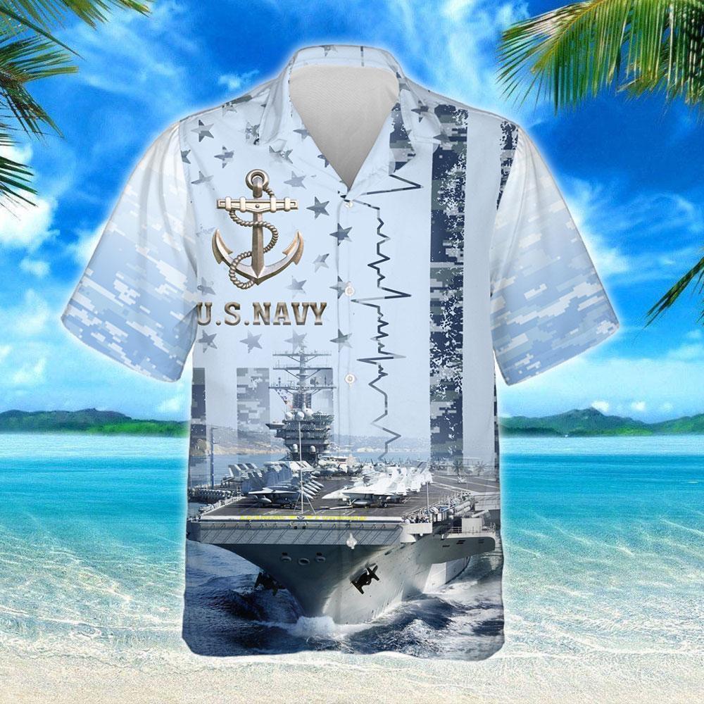 US Navy Aircraft Carrier Hawaiian Shirt 2