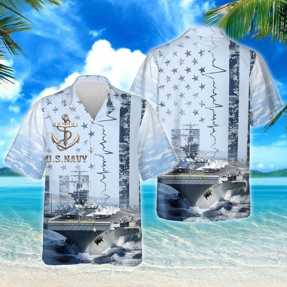 US Navy Aircraft Carrier Hawaiian Shirt