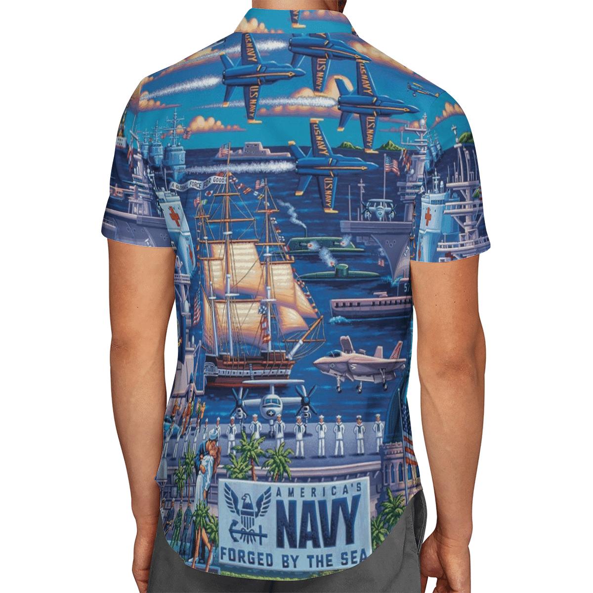 US Navy Forged By The Sea Hawaiian Shirt 2