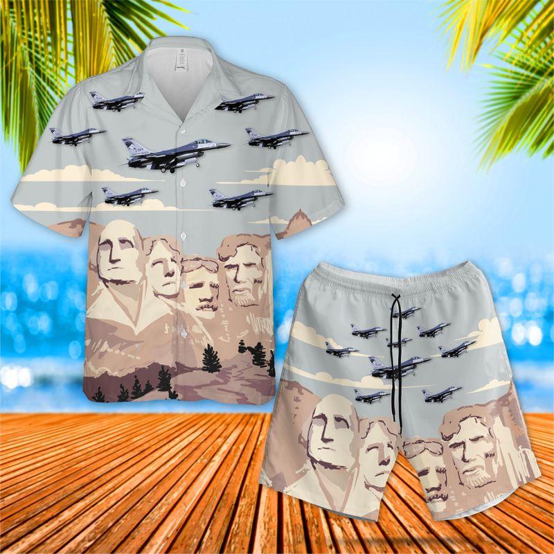 USAF South Dakota Air National Guard 175th Fighter Squadron General Dynamics F-16C Fighting Falcon Hawaiian Shirt